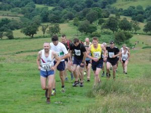 "Pen-y-fan fell race in the UK.  At this point we're ""running"" as soon as we got past the photographer, it's back to walking..."